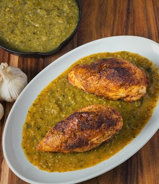 Chicken with tomatillo sauce is a bright, mexican inspired dish that pairs well with pureed pinto beans. It can also be shredded for tacos or burritos.