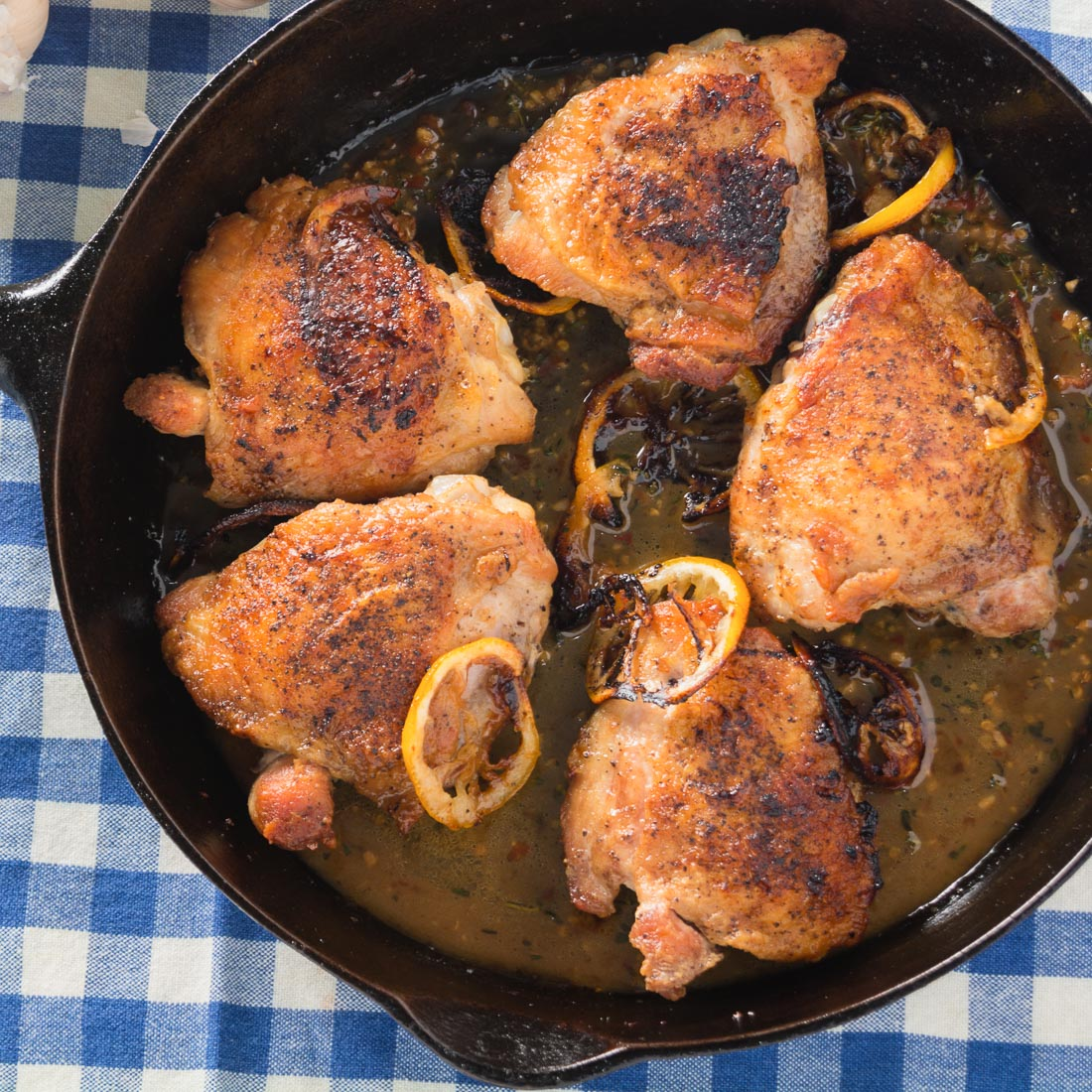 Lemon thyme and chicken thighs come together beautifully in a simple pan roasted dish perfect for a special weeknight dinner.