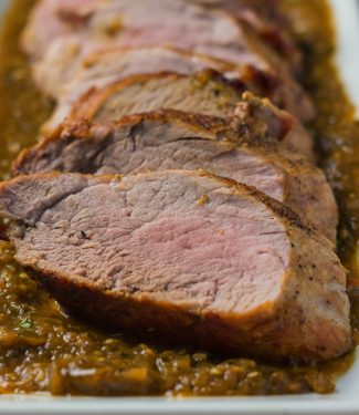 Roasted pork with tomatillo sauce. Pork, tomatillos and green chilies is one of those combinations that just work beautifully.