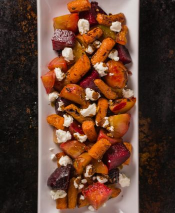 roasted beets and carrots with goat cheese and balsamic glaze