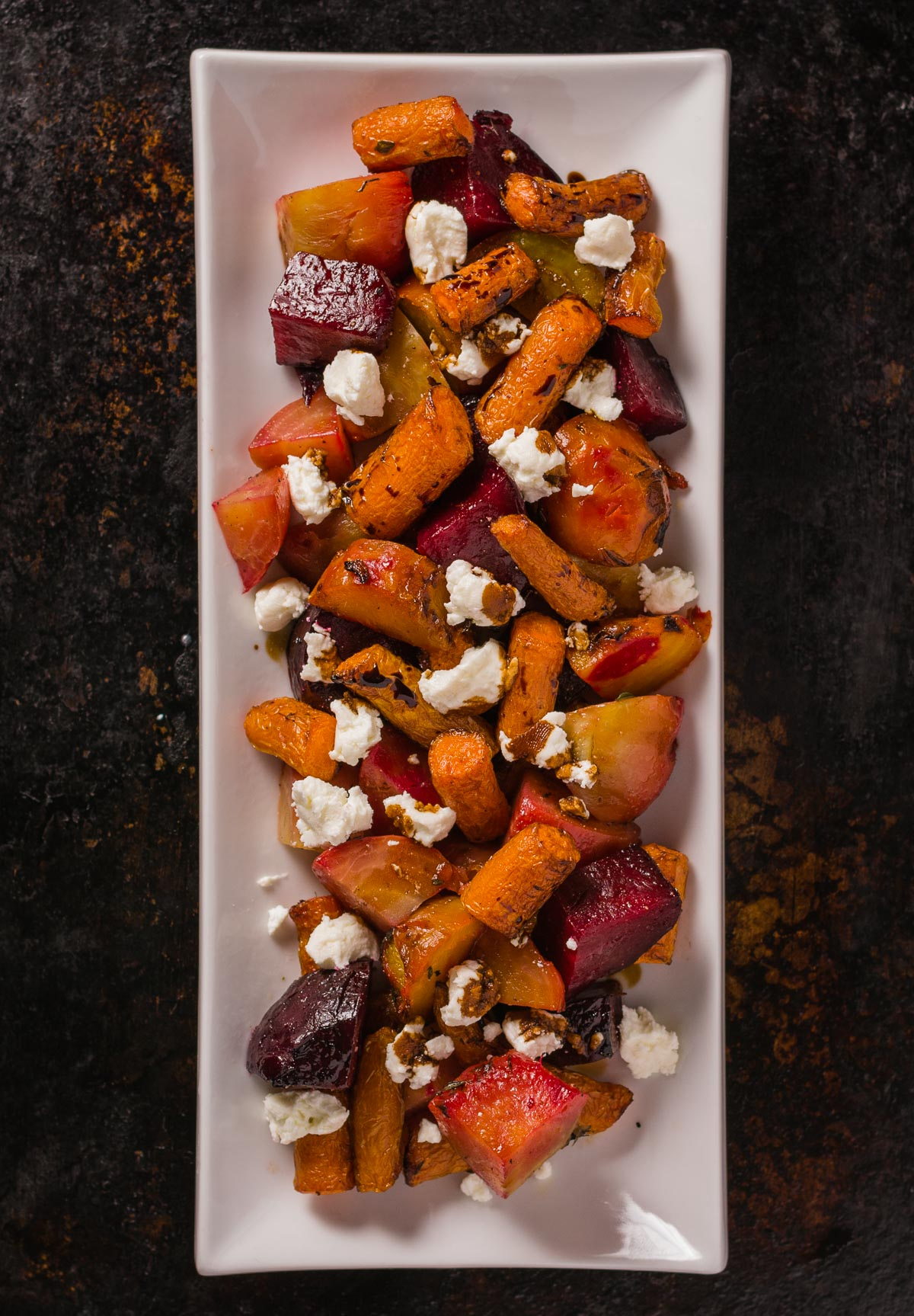roasted beets and carrots with goat cheese and balsamic glaze - glebe ...