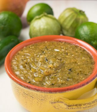 This tomatillo salsa or salsa verde is awesome on its own or with roasted chicken or pork.
