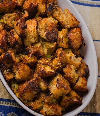 This turkey dressing is based on the famous Zuni Cafe bread salad recipe. It using the same technique but is seasoning is all holiday turkey.