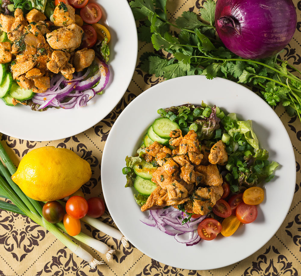 Chicken chaat salad. Indian inspired composed salad that also makes a great main course.
