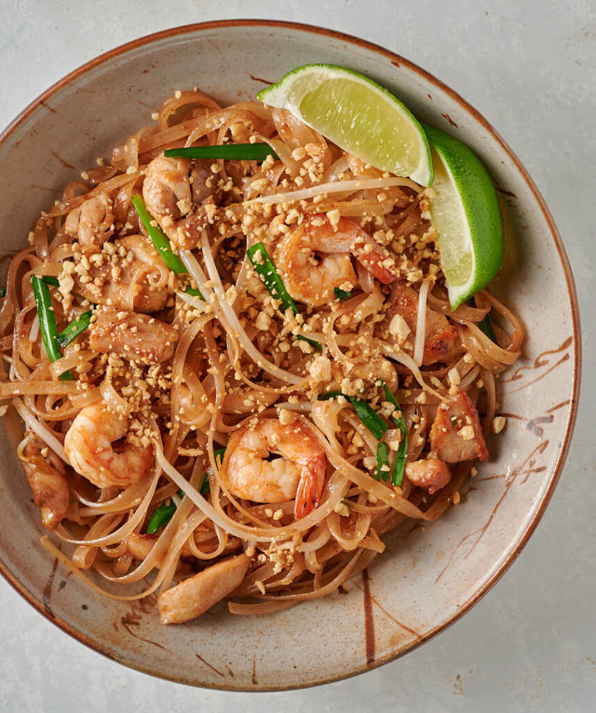 Easy pad thai in a bowl from above.