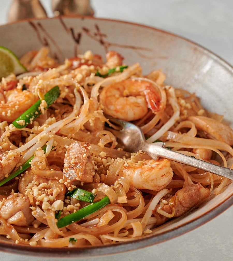 Pad Thai closeup with fork