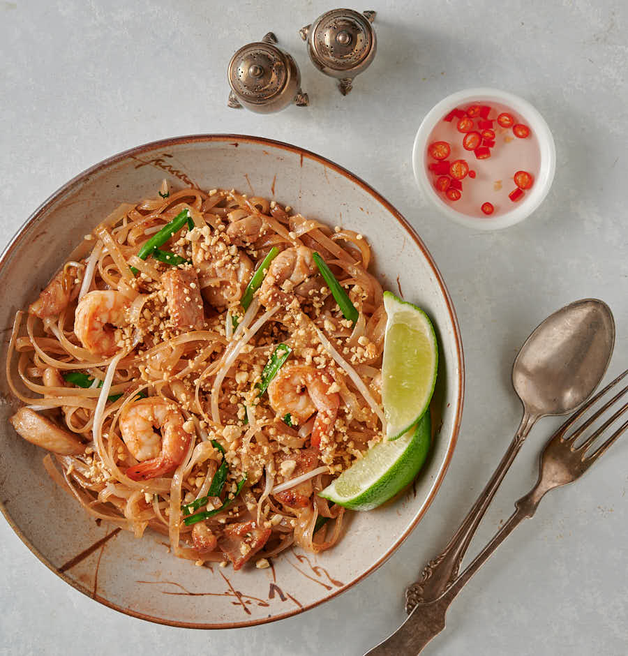 Easy pad Thai table scene from above.