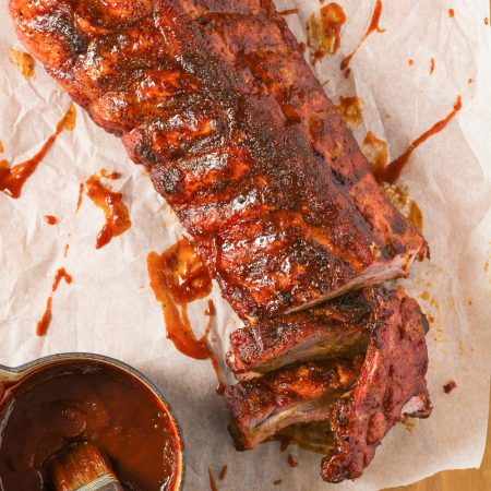 Perfect bbq back ribs glazed with a bourbon BBQ sauce.