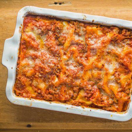 Neapolitan lasagna is a great alternative to your regular lasagna. Pork and Italian sausage meld beautifully with tomato and fresh mozzarella.