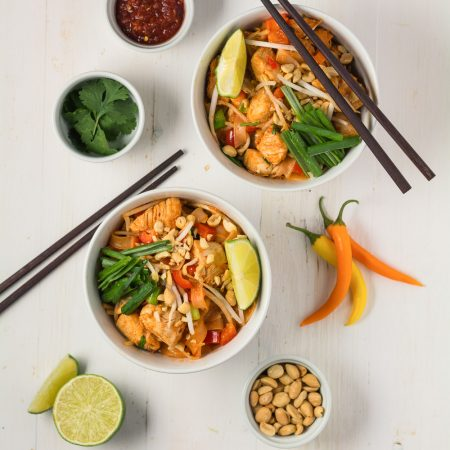 Simple ingredients come together in this straight forward but delicious pad thai recipe.
