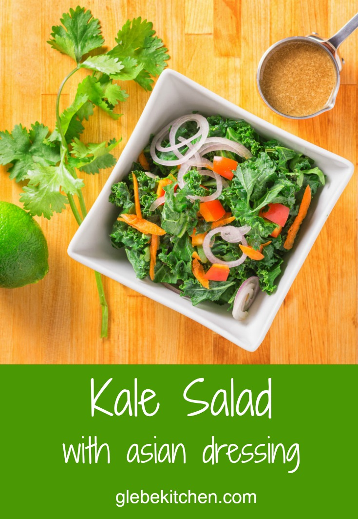 Kale salad with a tahini lime soy dressing.