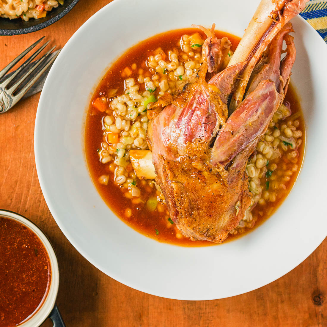 Meltingly tender braised lamb shanks are perfect for that special occasion dinner.