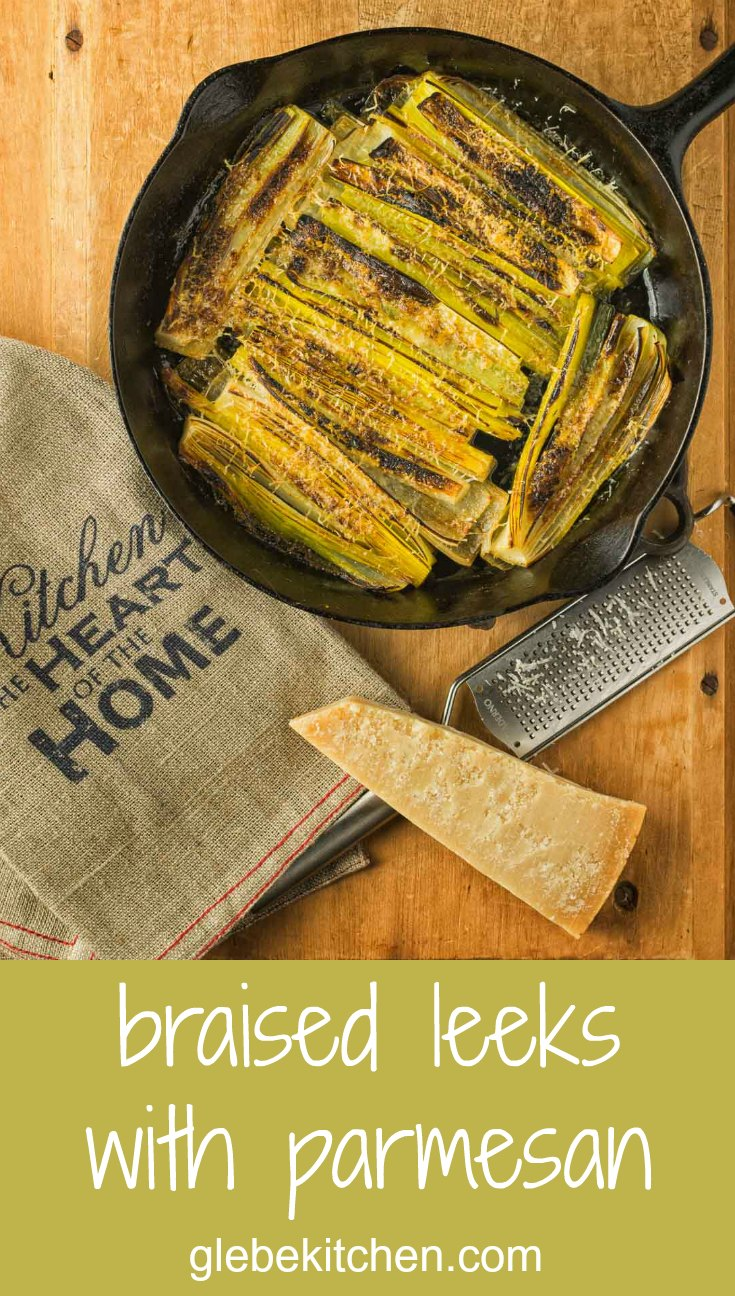 Braised leeks sprinkled with parmesan and flash broiled.