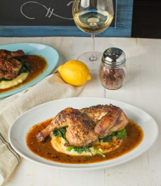 This chicken diavolo is garlicky, lemony and big on herbs. If that sounds good maybe this is the chicken diavolo for you.
