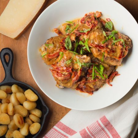 Chicken with sun-dried tomato cream sauce. It's a blast from the past!
