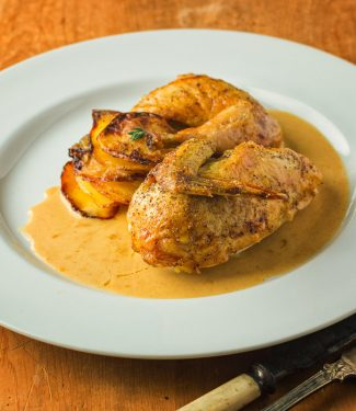 Cornish hen with mustard cream sauce is easy enough for a weeknight meal.