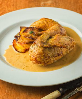 cornish hen with mustard cream sauce
