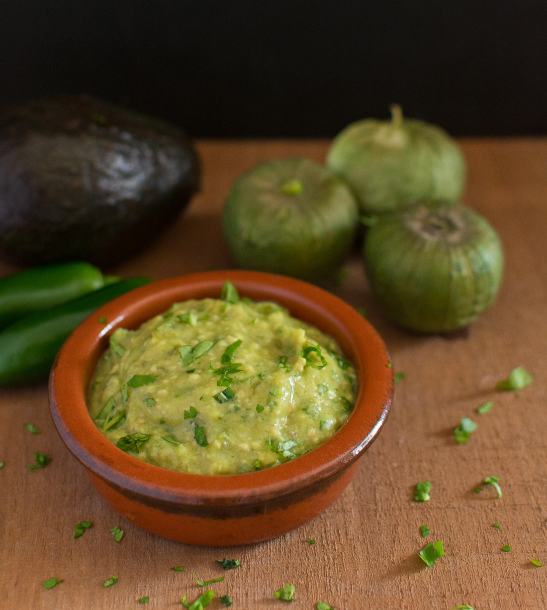 The tang of tomatillos and creaminess of avocados come together beautifully in this salsa.