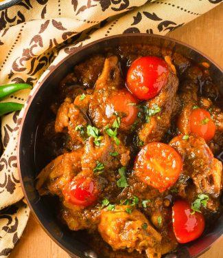 This Indian restaurant lamb curry is loaded with onion, garlic, ginger and spices.
