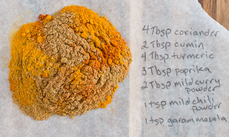 Indian restaurant spice mix on wax paper with recipe