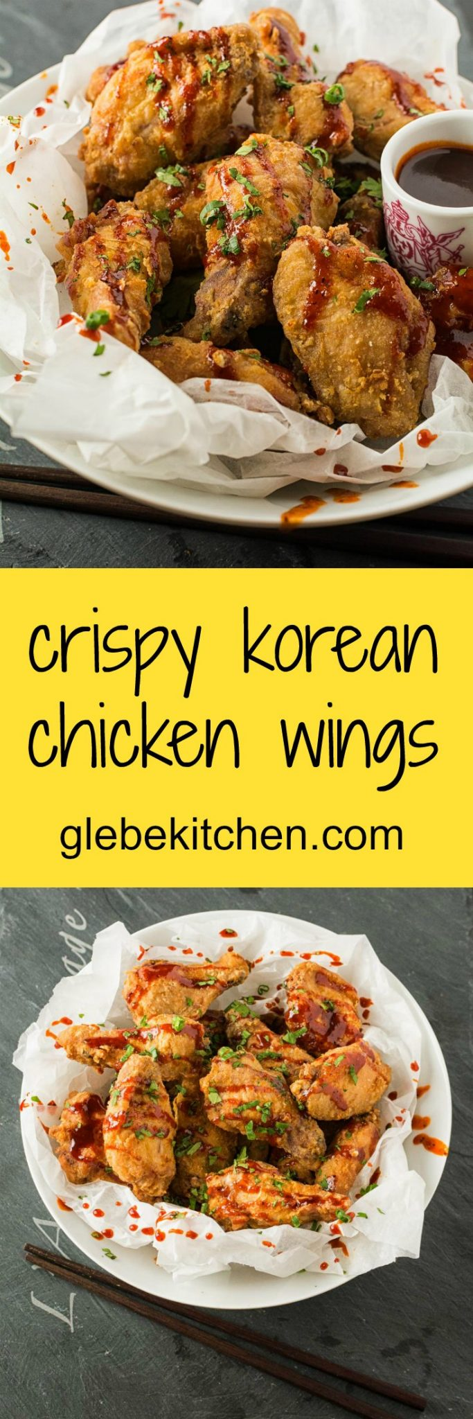 Ultra-crispy make ahead chicken wings with Korean BBQ sauce.