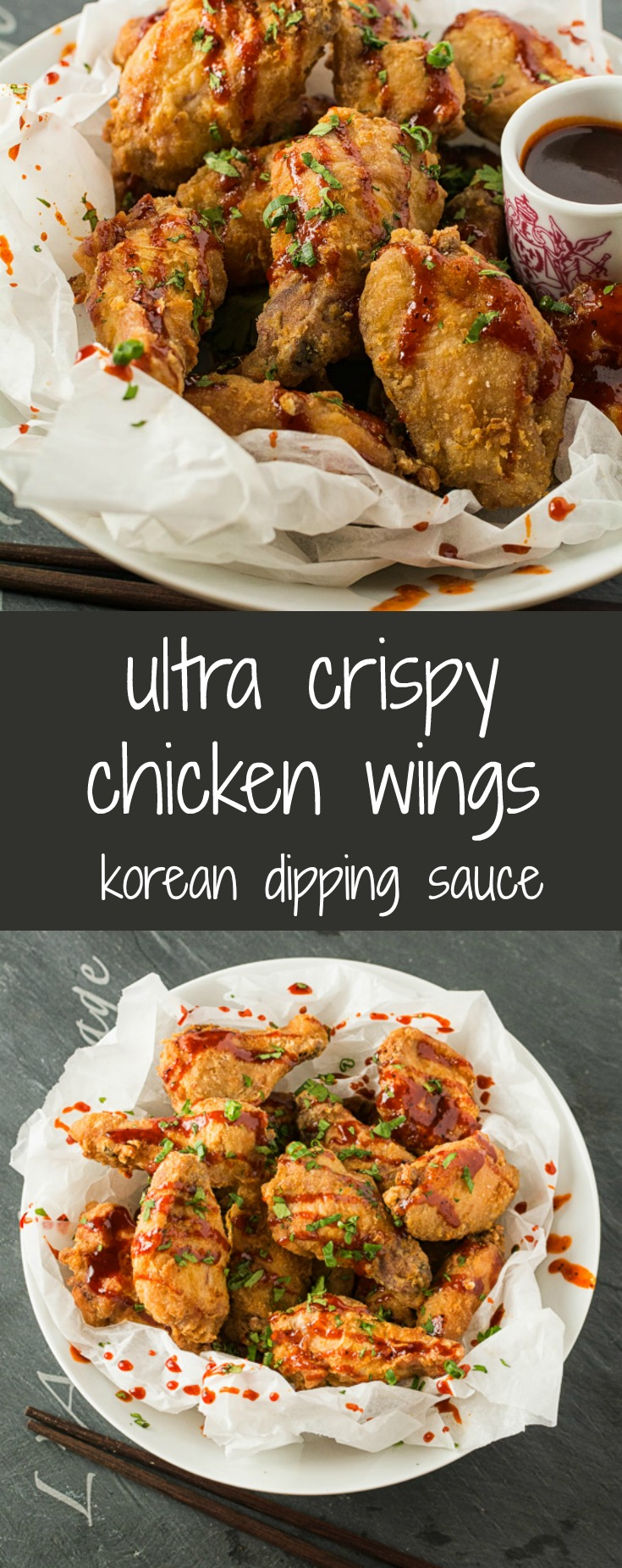 Seriously crispy chicken wings with spicy Korean dipping sauce.