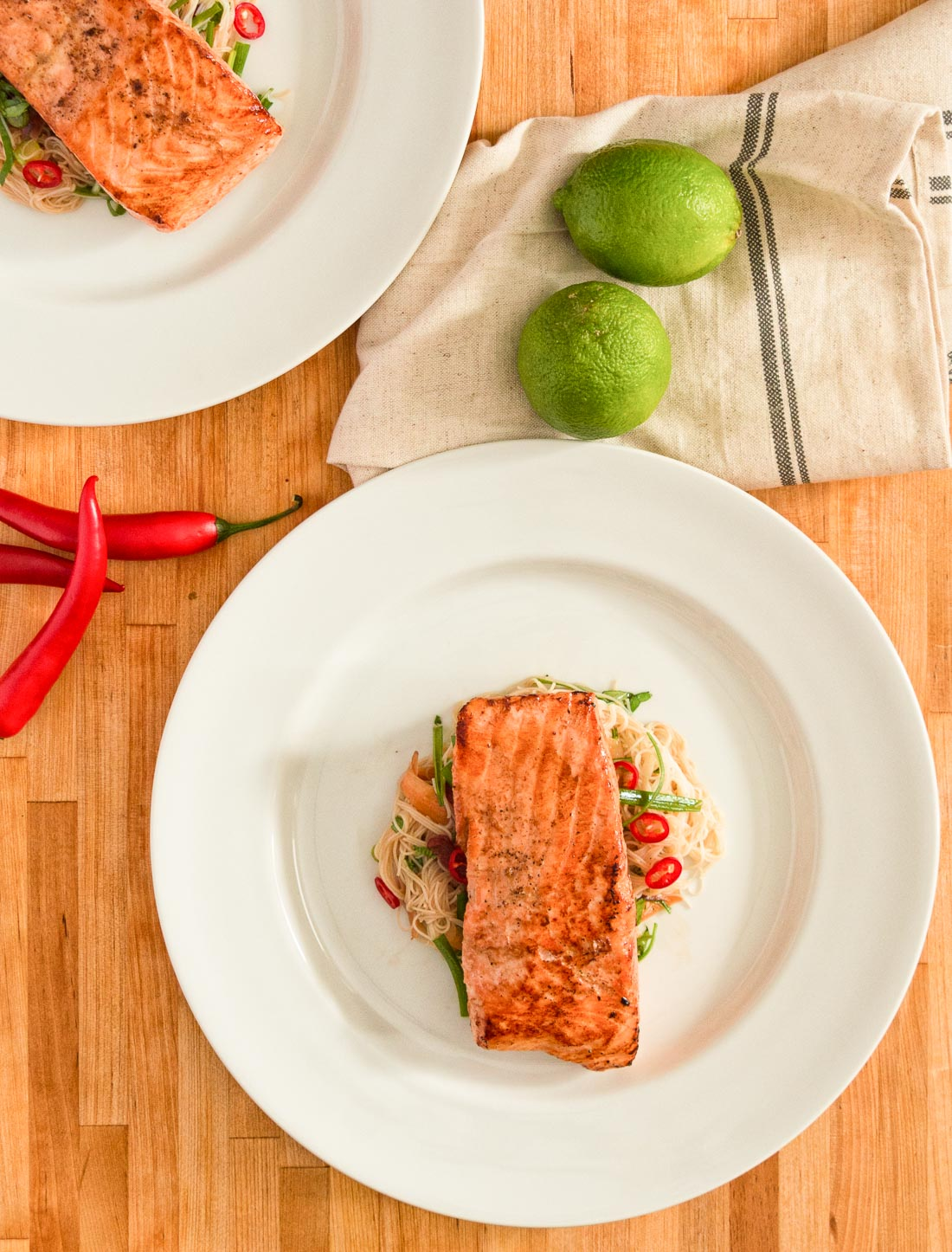 Salmon with rice noodle salad makes a great weeknight meal.
