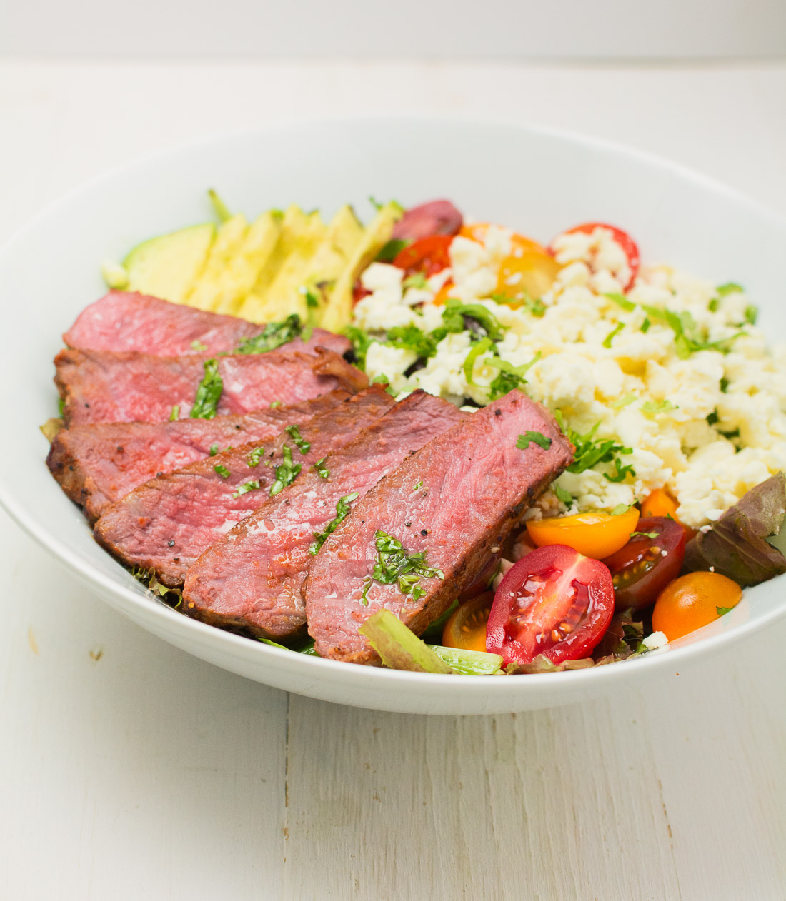 Sous-vide your steaks then sear for perfect steak salad/