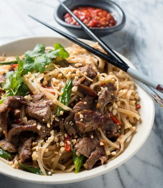 Thai beef noodles from the front.