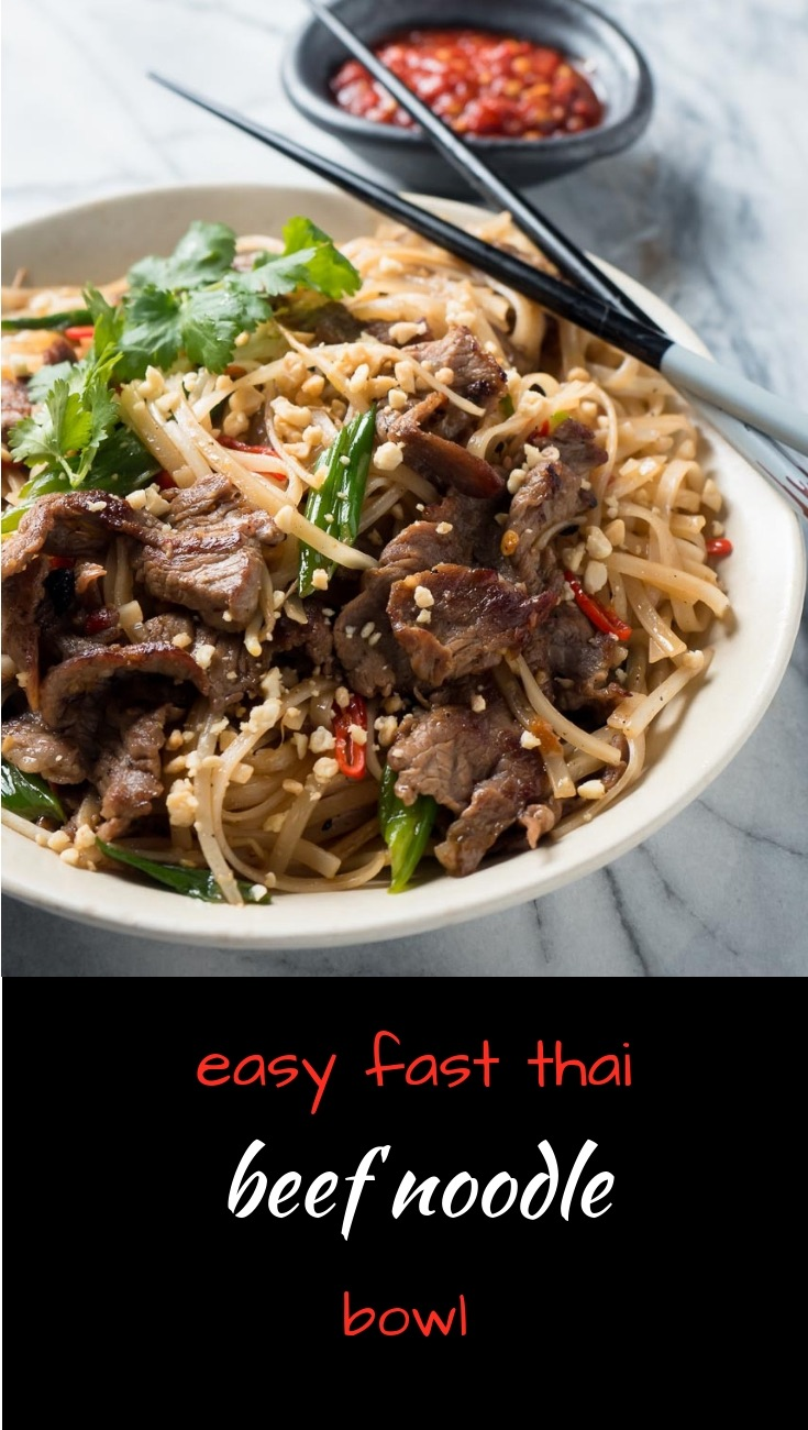 Thai beef noodles are a big bowl of tasty Asian rice noodles.