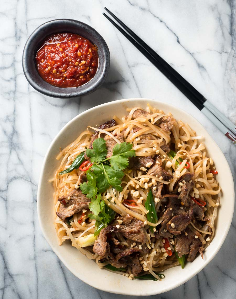 Thai beef noodles with sambal oelek from above