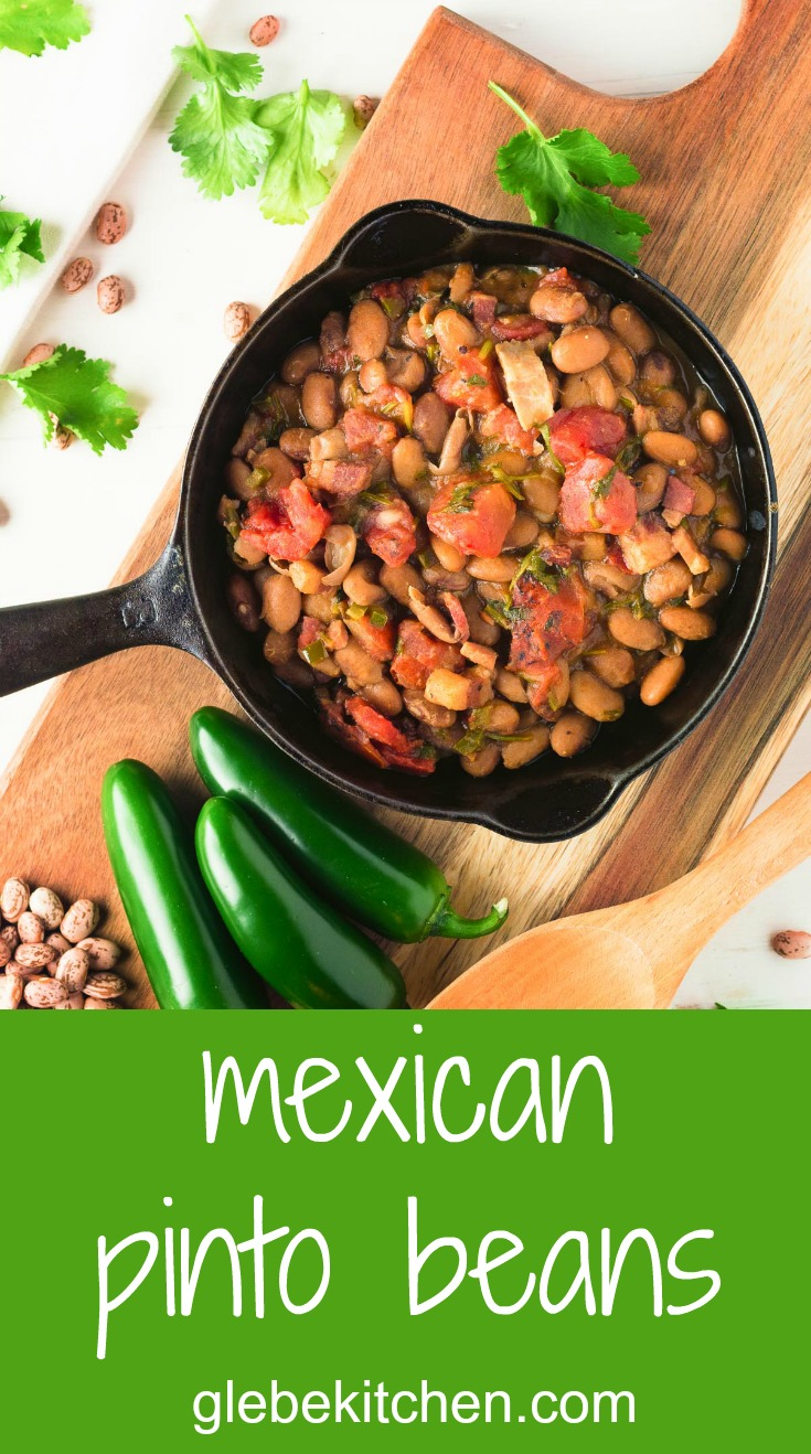 These Mexican pinto beans are better than you will get in restaurants. Rich, savoury and oh so satisfying, they go with anything and everything.
