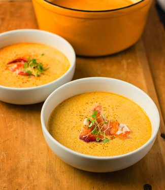 A simpler but deeply satisfying lobster bisque.