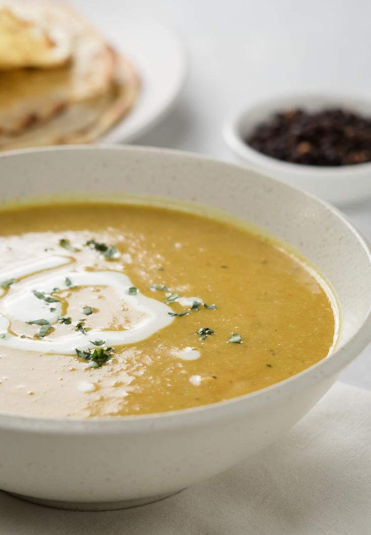 Closeup of bowl of mulligatawny soup