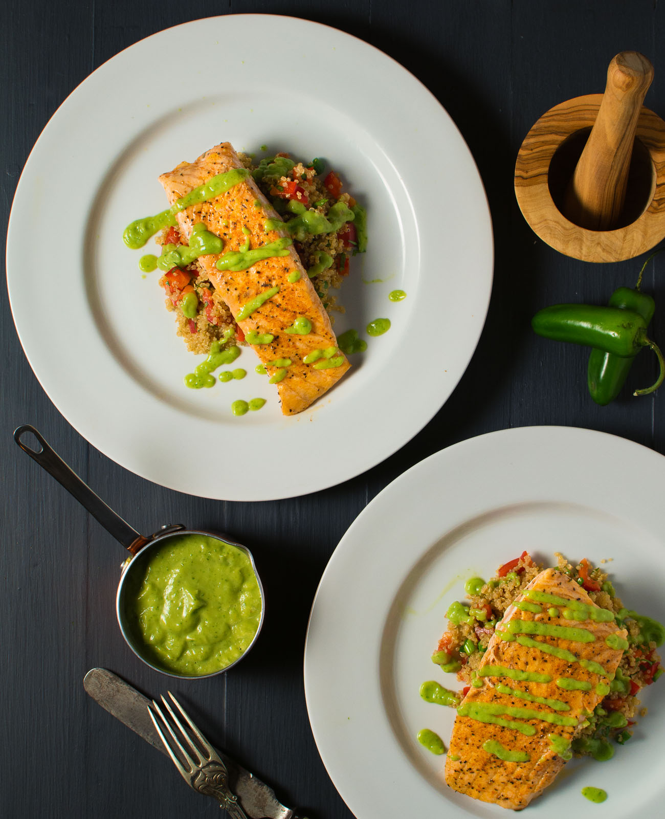 A superfood plate combines salmon, avocado and quinoa in a delicious weeknight meal.