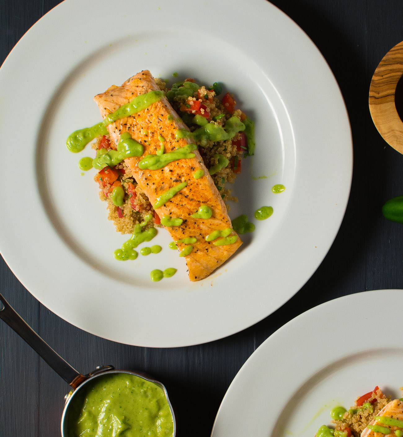 salmon with quinoa salad and avocado salsa