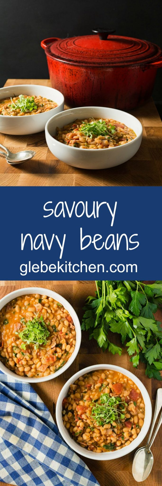 Rosemary, thyme, parsley, onion and garlic all come together in this warming and deeply satisfying savory navy bean stew.