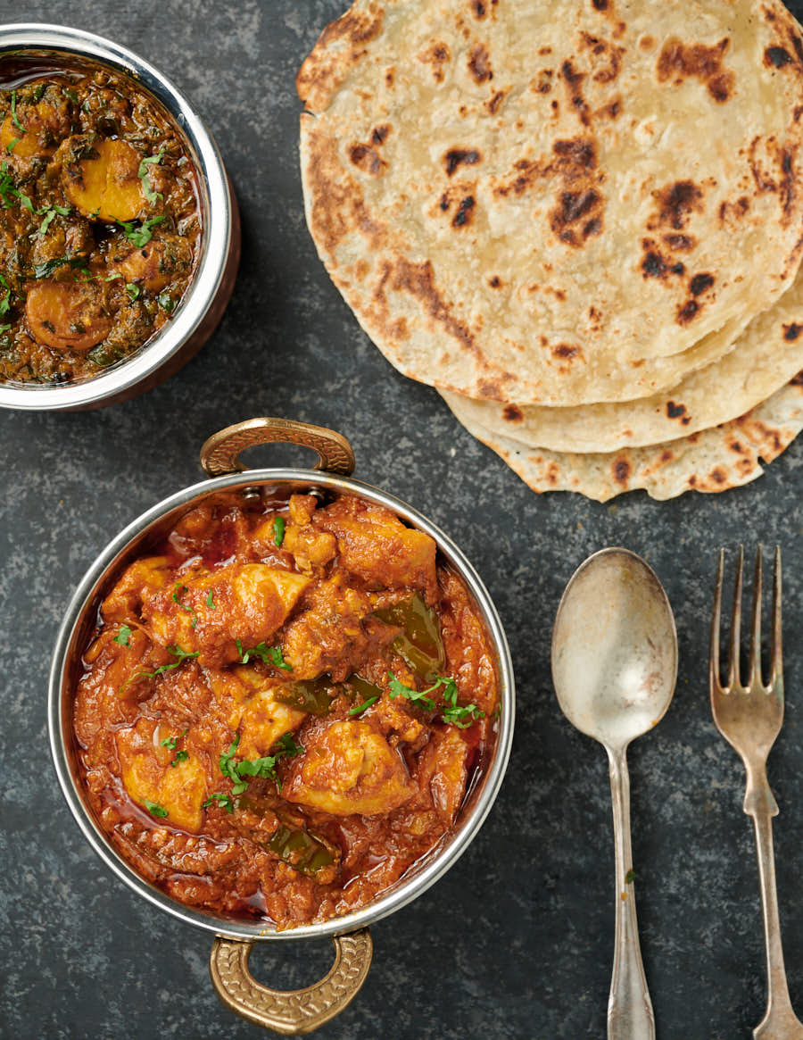 Chicken dopiaza curry with parathas and sag aloo from above.
