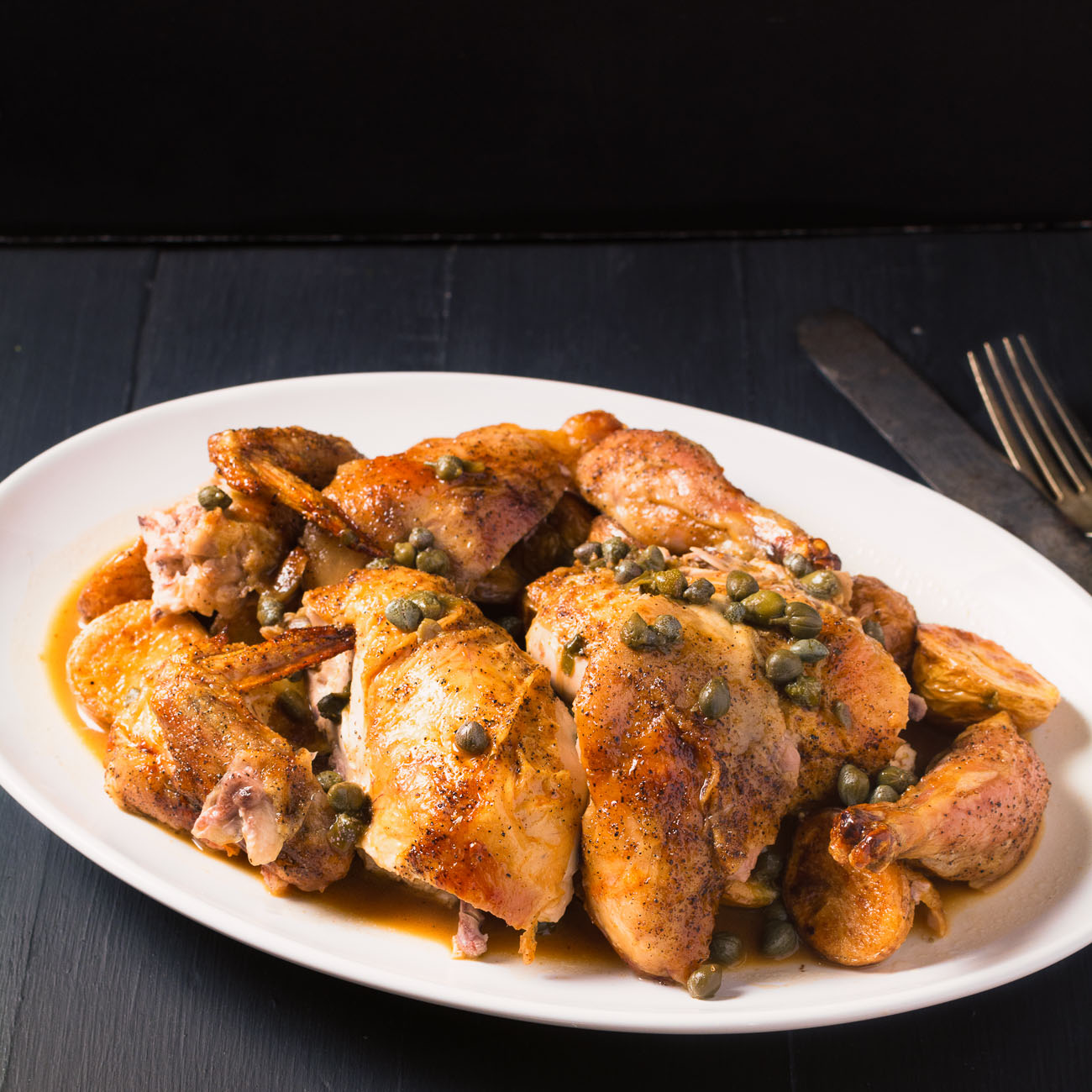 Lemon, capers and cornish hen come together in a great twist on traditional piccata.