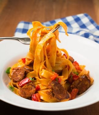 Fettuccine with andouille creole cream sauce. Ready in 20 minutes.