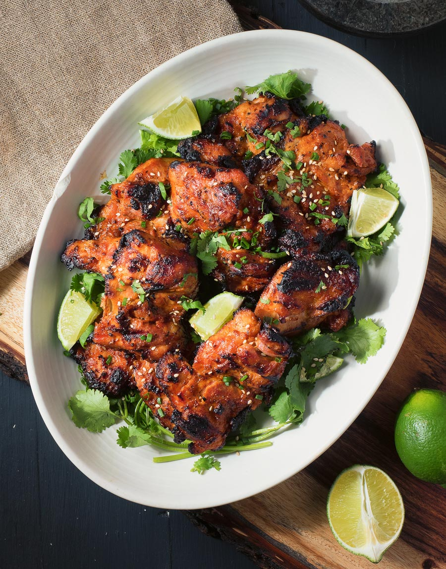 Korean grilled chicken with a gochujang, miso marinade.