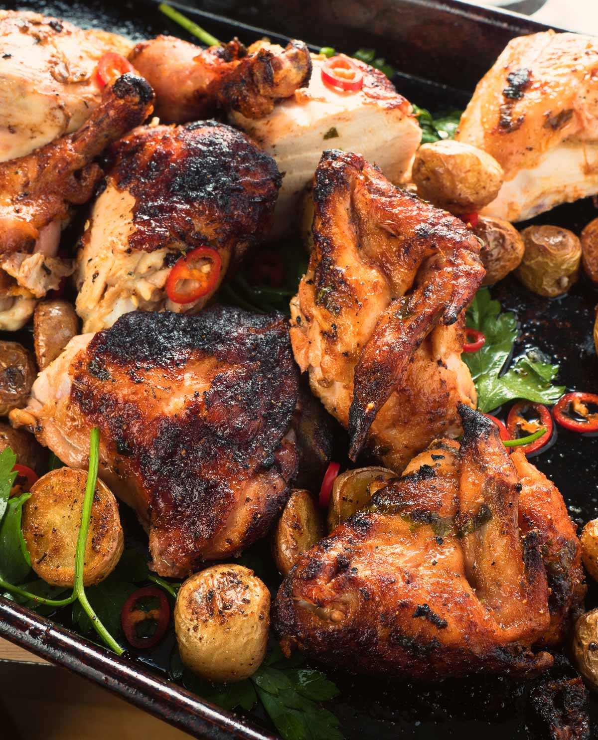 Spicy, lemony, and smoky flavours come together in Portuguese grilled chicken.