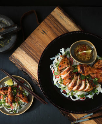 vietnamese grilled chicken with ginger soy noodle salad