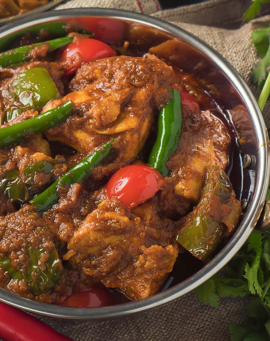 close up view of Indian restaurant chicken jalfrezi