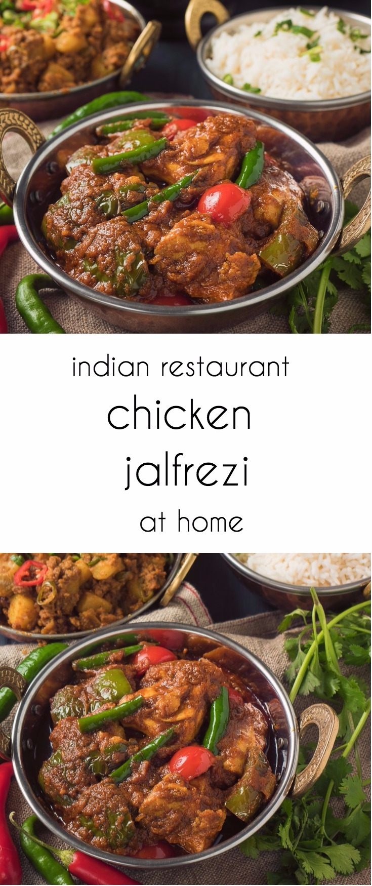 Indian restaurant chicken jalfrezi with rice and aloo keema