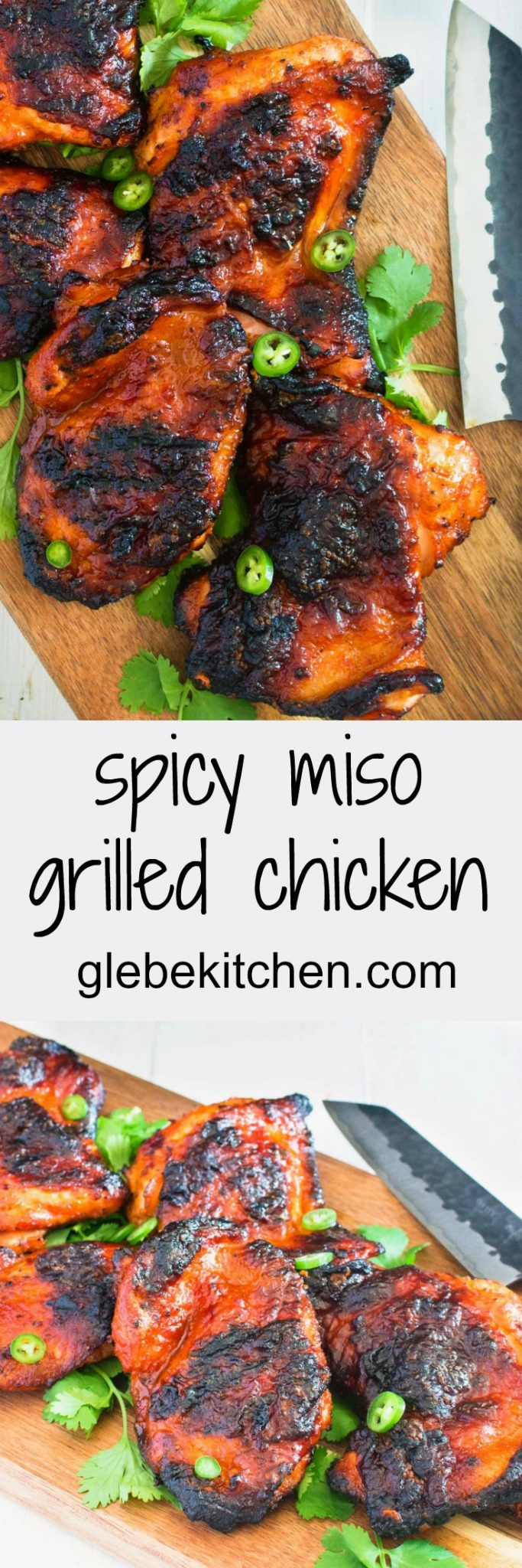 Spicy miso grilled chicken explodes with Korean flavours.