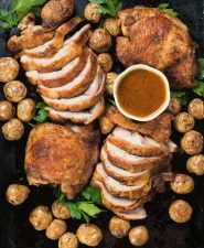 Roast turkey with chipotle gravy is a great weeknight twist on that holiday classic.