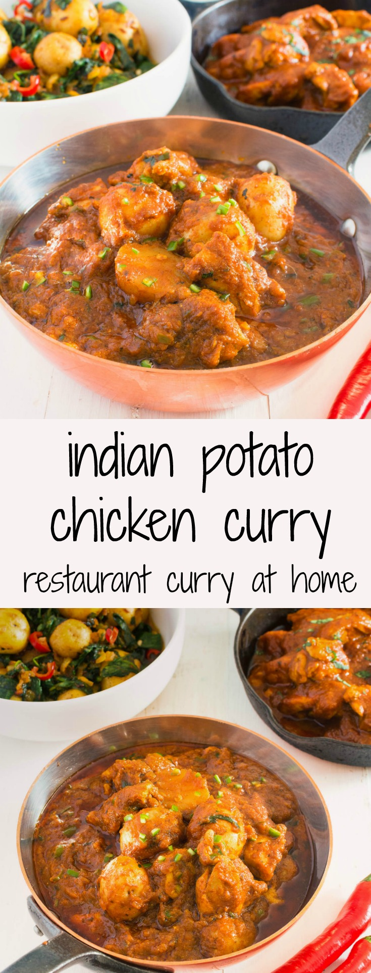 Restaurant style aloo chaat chicken curry is a salty sour medium spicy potato and chicken curry.