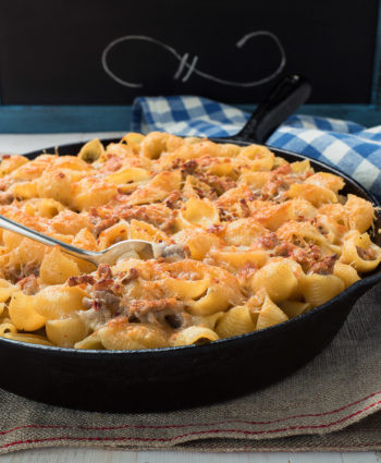 baked pasta with sausage alfredo sauce