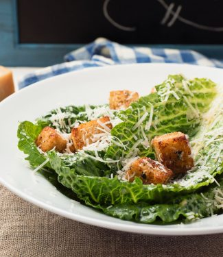 scratch caesar salad with roasted garlic croutons